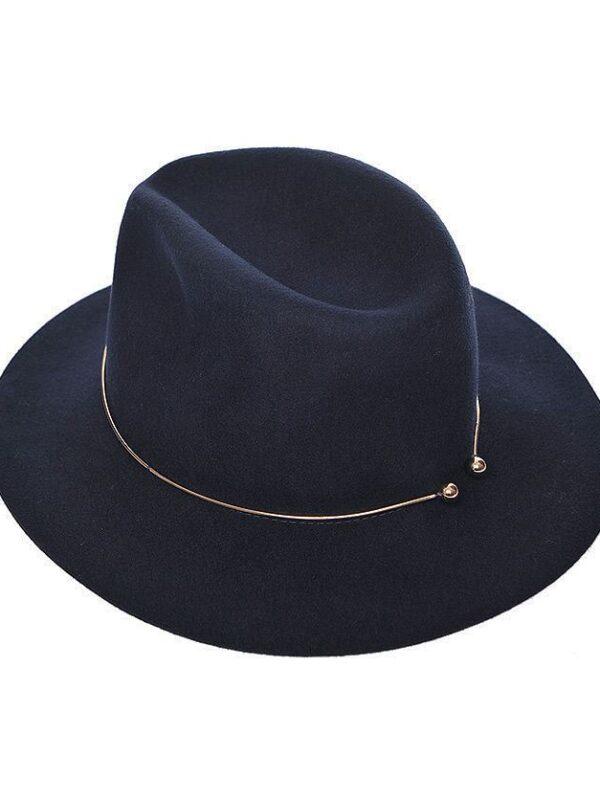 Fedora Woollen Hat (Navy)