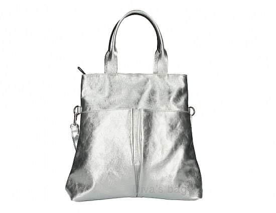 Silver Metallic Leather Shopper Bag