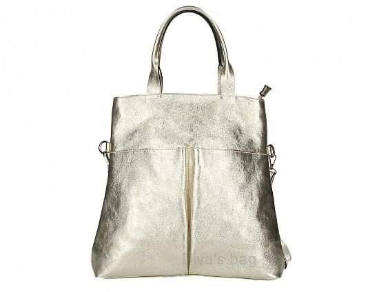 Gold Metallic leather shopper bag