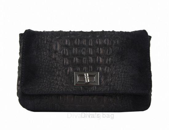 Black Leather Chain handle bag
