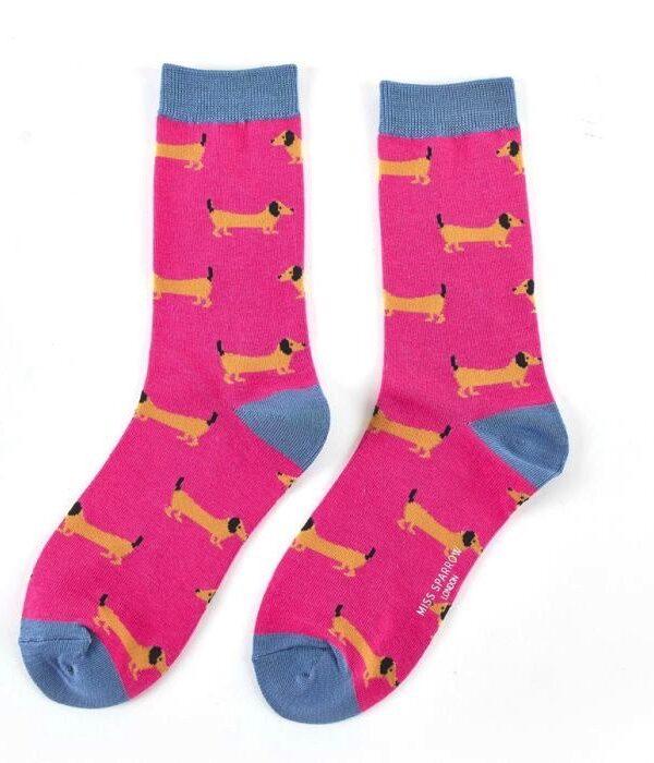 Women's hot pink bamboo sausage dog socks