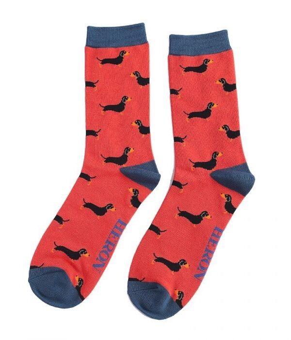 Red sausage dog socks - Men's