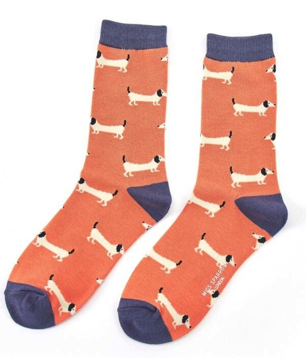 Womens sausage dog socks - orange