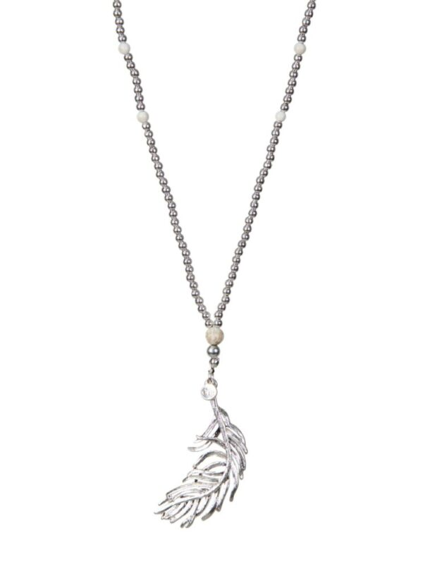 Long Feather necklace - Silver/Cream
