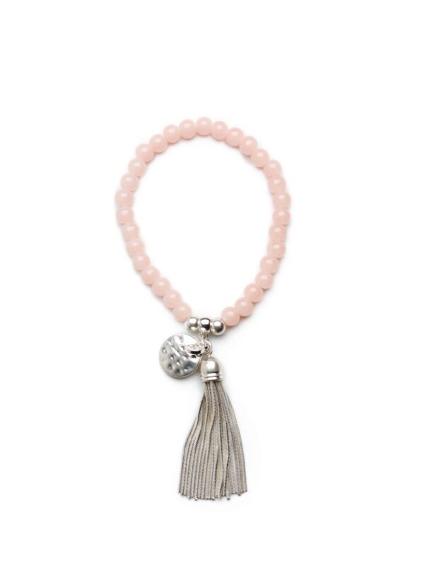 stretch beaded tassel bracelet - Blush