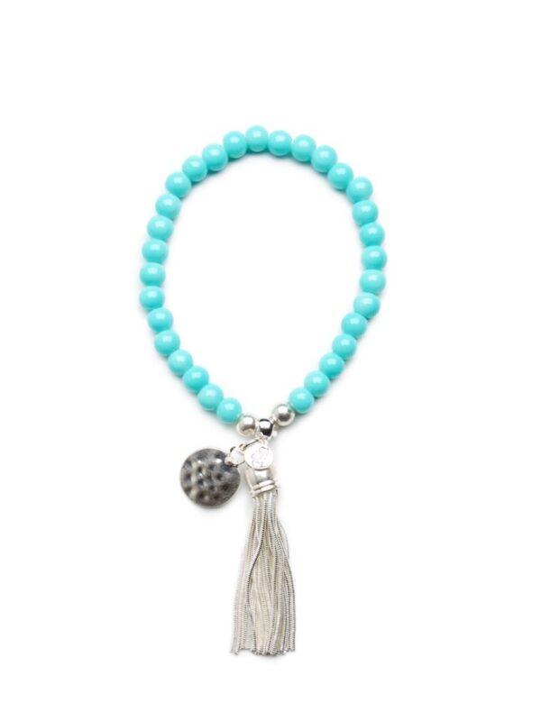 Stretch beaded tassel bracelet - Turquoise