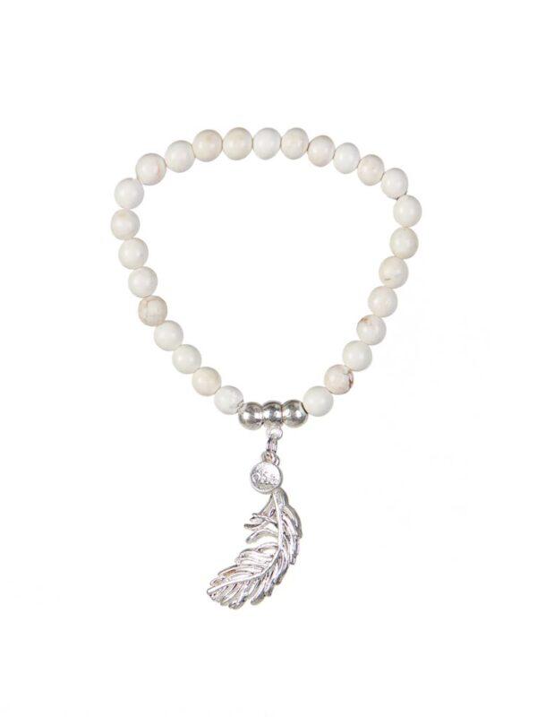 Cream beaded feather bracelet