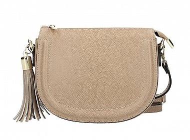 Taupe Leather Crossbody Handbag