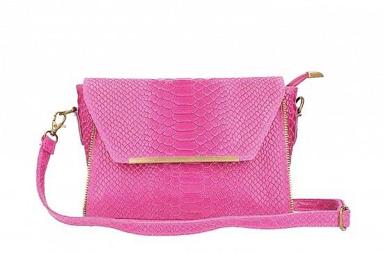 Fuchsia Leather messenger bag