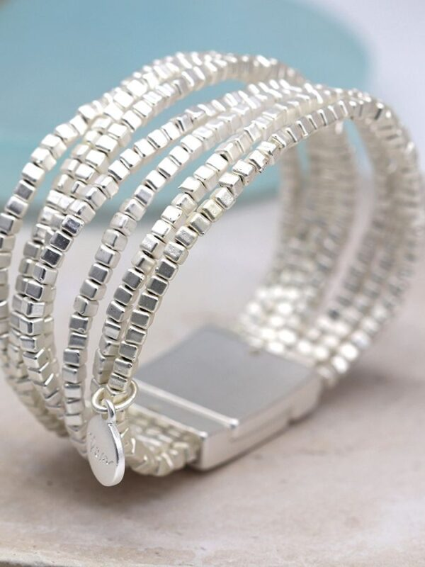 Silver magnetic cuff bracelet