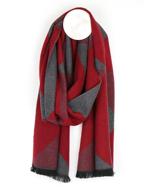 Men's red and grey scarf