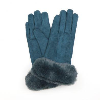 Teal Faux fur gloves