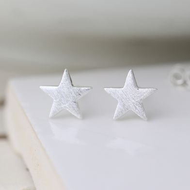 Sterling silver scratched star earrings