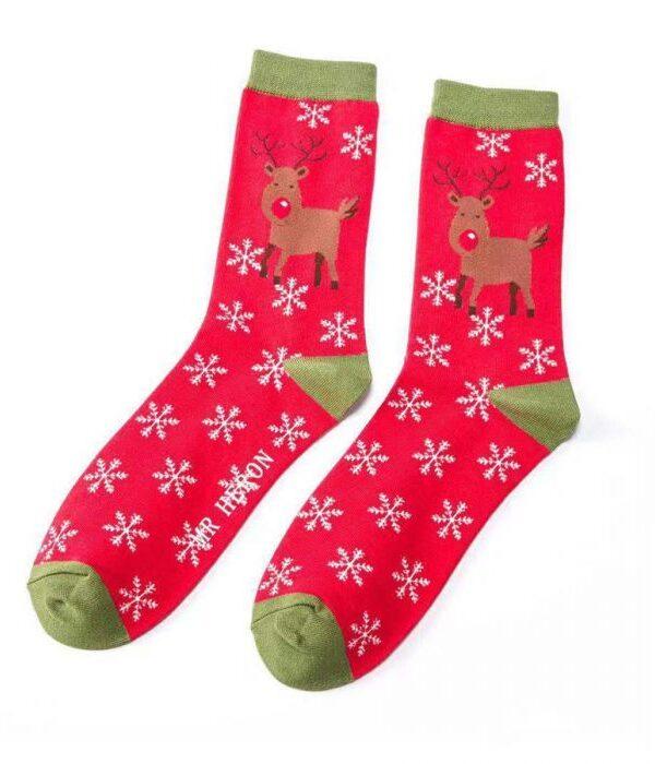 Red Rudolph bamboo socks