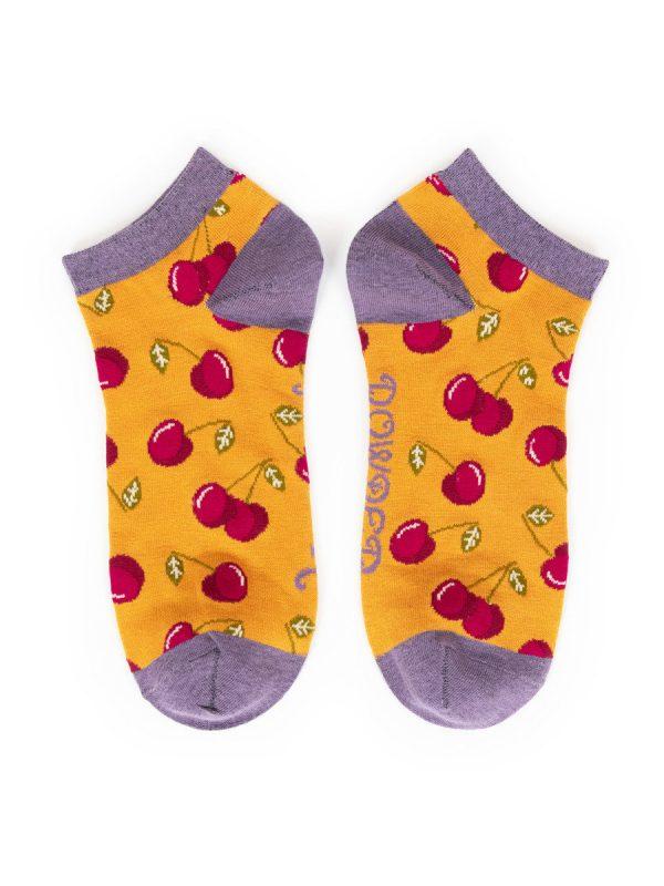 Bamboo Cherry Trainer Socks - Yellow/Purple