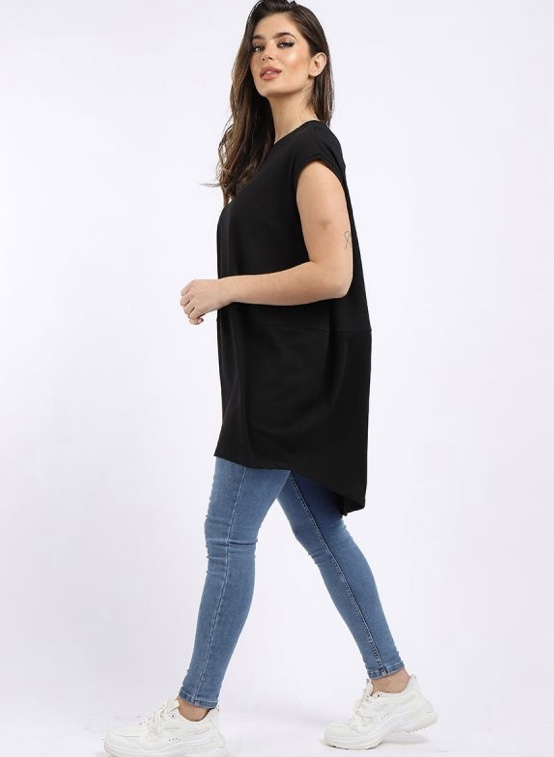 Oversized Tunic T-Shirt - Black