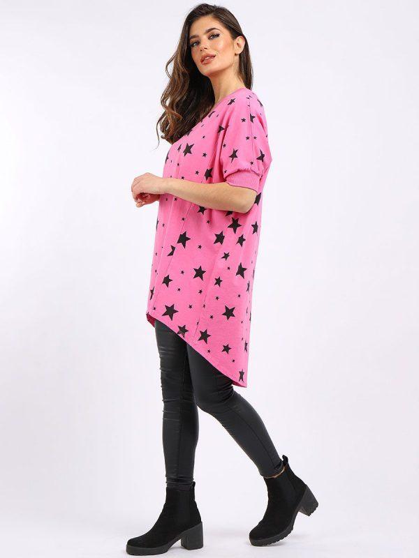 Stars Lightweight Sweatshirt Tunic - Hot Pink