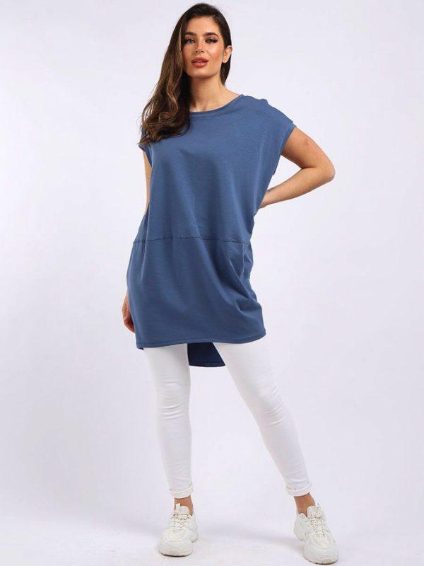 Oversized Tunic T-Shirt - Denim Blue