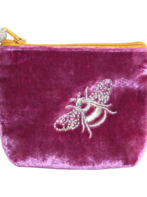 Mini Coin Purse - Velvet Bee - Pink