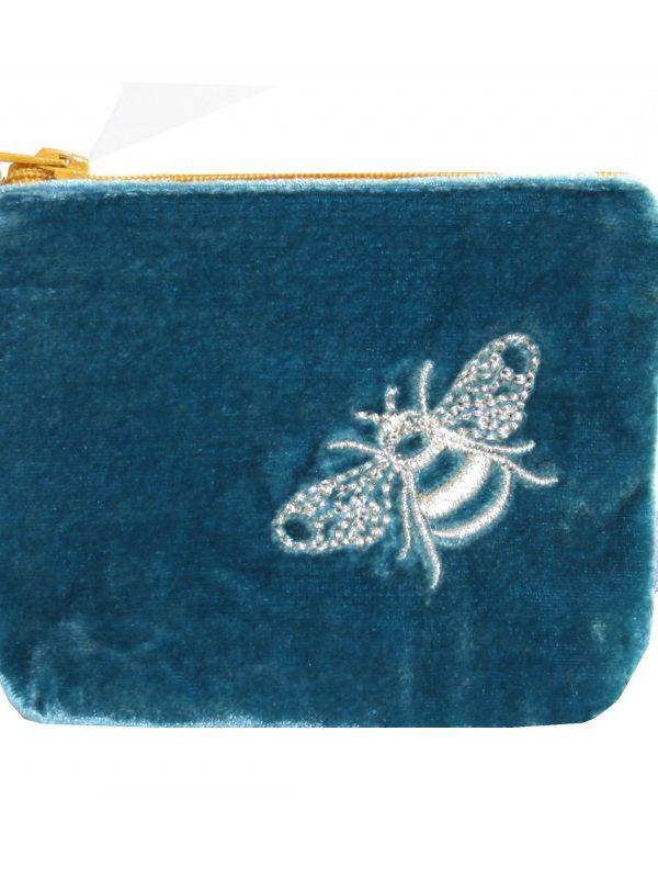Mini Coin Purse - Velvet Bee - Blue/Teal