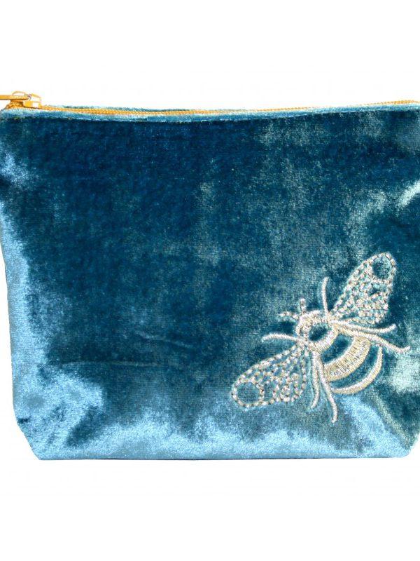 Coin Purse - Velvet Bee - Blue/Teal