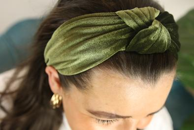 Khaki Velvet Headband