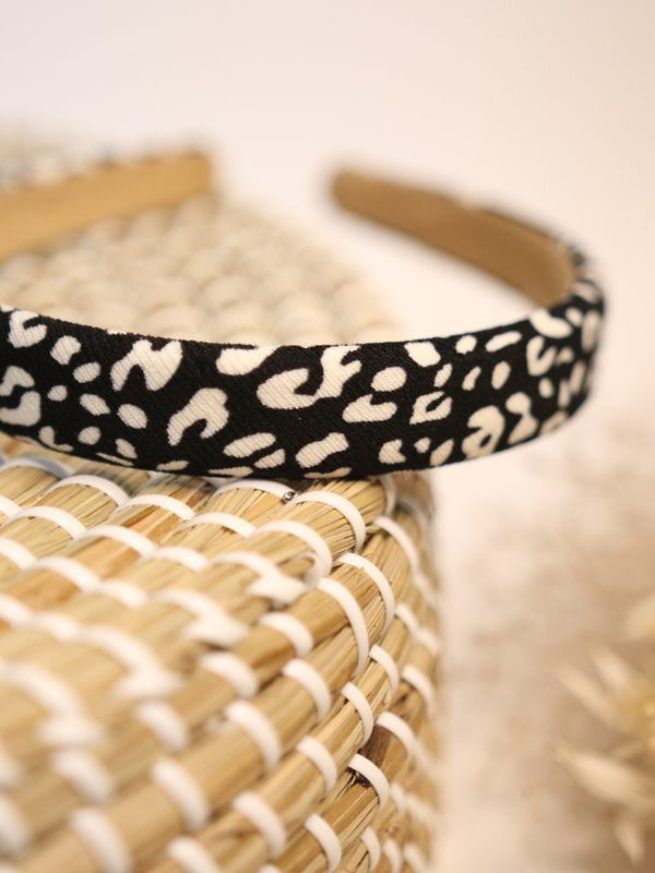Slim Black with Cream Leopard print Headband