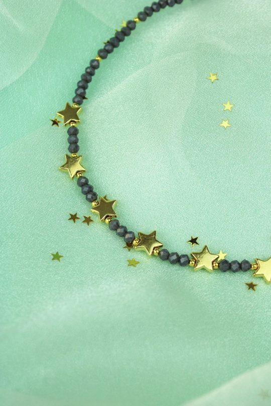 Semi precious stone and star necklace - Grey