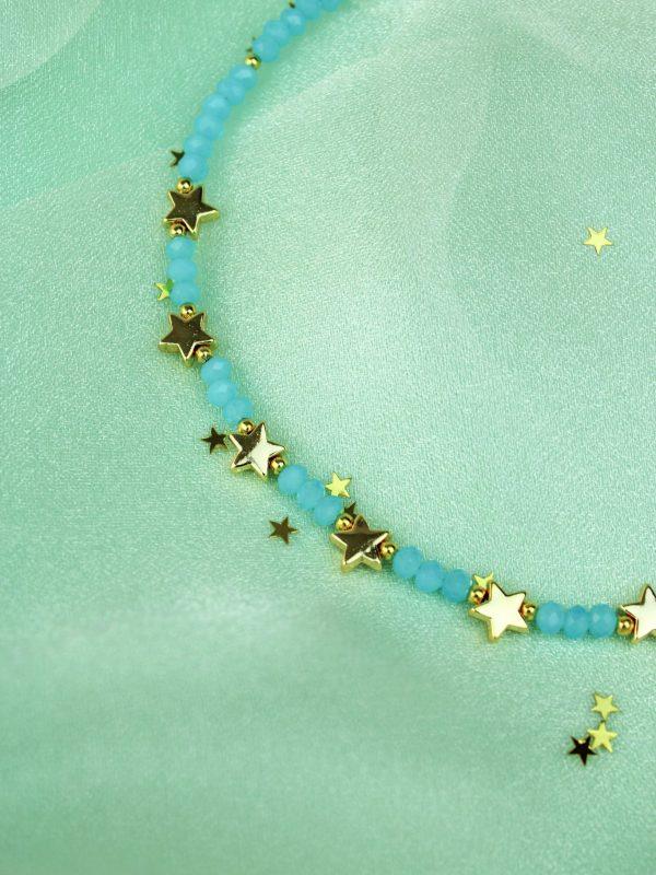 Semi precious stone and star necklace - Blue