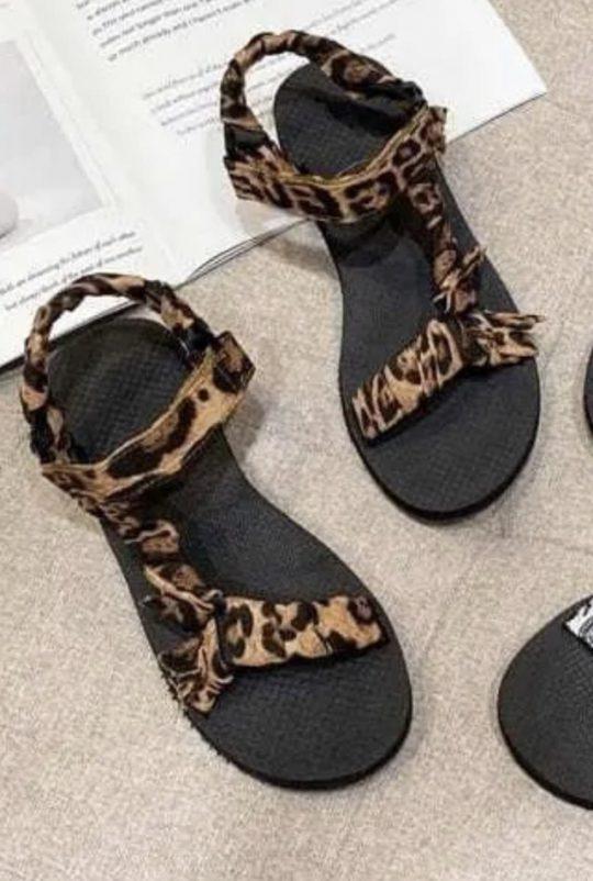 Leopard Velcro Sandals
