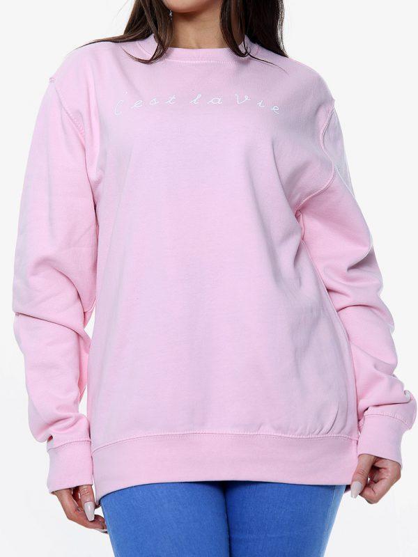 C'est La Vie - Sweatshirt - Baby Pink