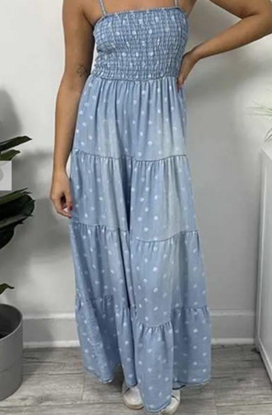 Polka Dot Denim Effect Sun Dress