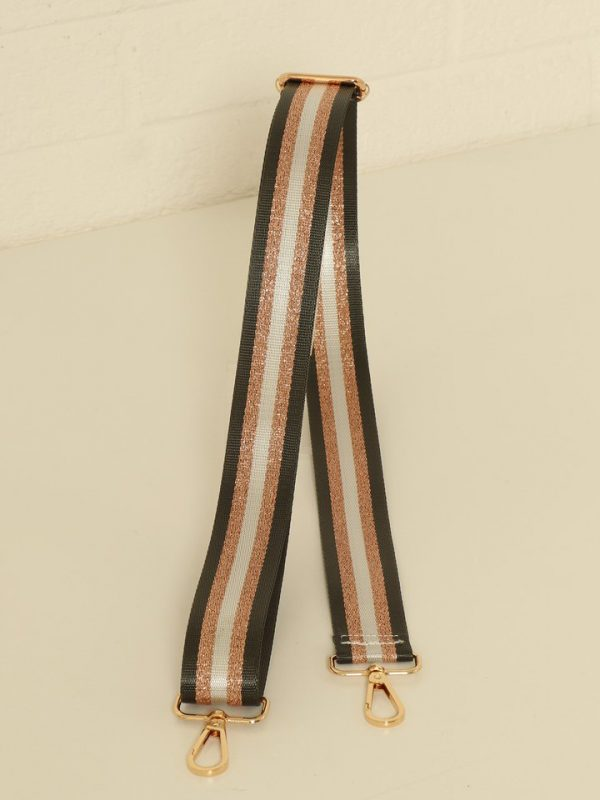 Charcoal Grey and Rose Gold Stripe Bag Strap