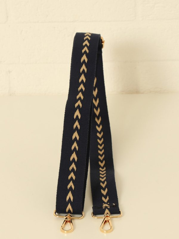 Navy and Beige Arrow pattern bag strap