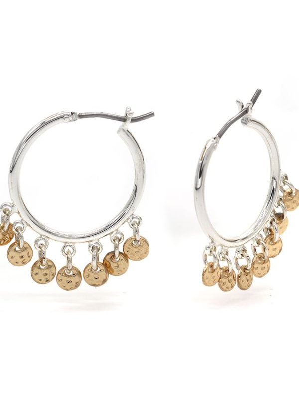 Silver plated hoop earrings with golden hammered discs