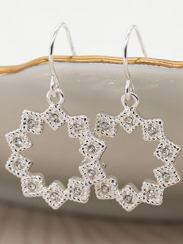 Silver plated multi point star drop earrings