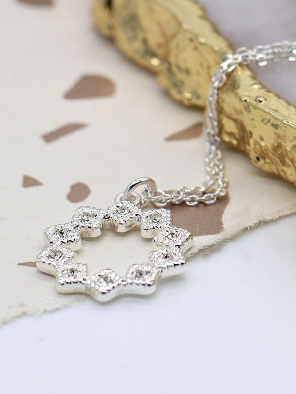 Silver plated multi point star drop Necklace