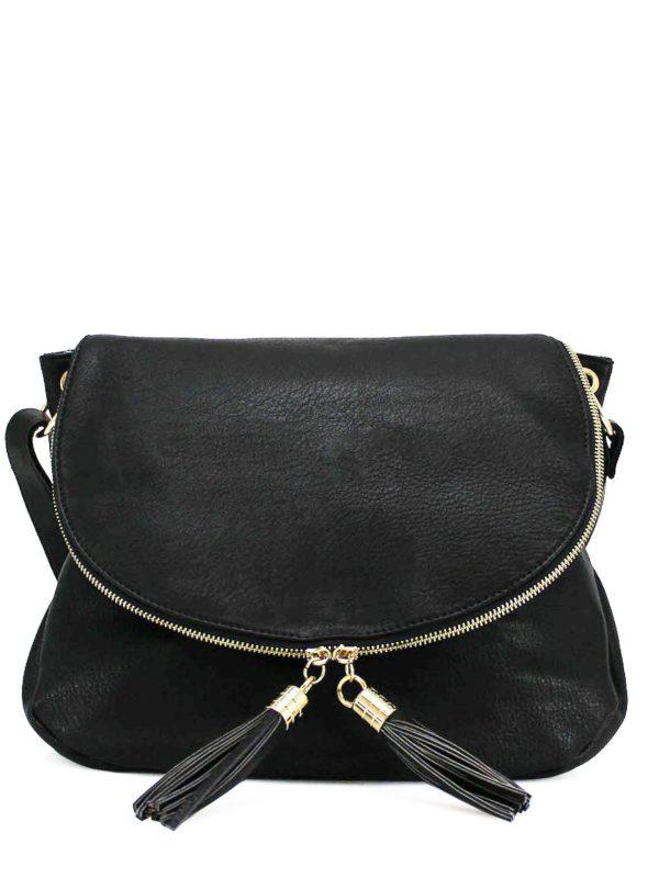 Large Black Crossbody Tassel Bag