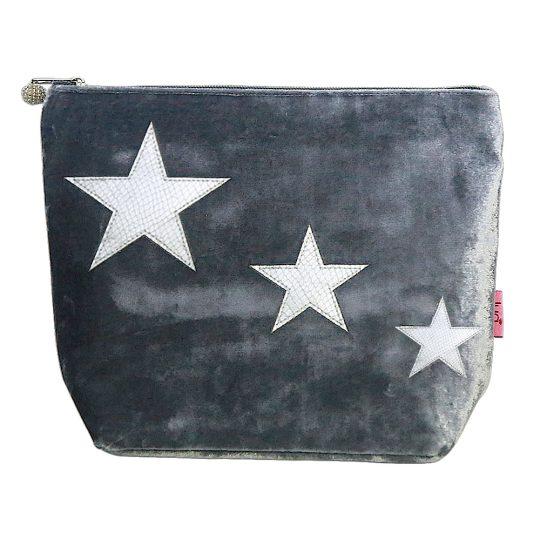 Silver Velvet star bag