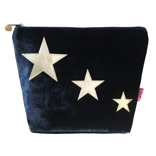 Large Velvet cosmetic bag in Navy