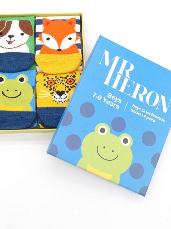 Boys Bamboo Socks - Animal Box Set (7-9yrs)