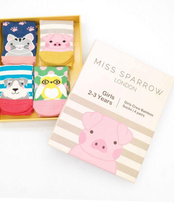 Girls Bamboo Socks - Animal Box Set (2-3yrs)