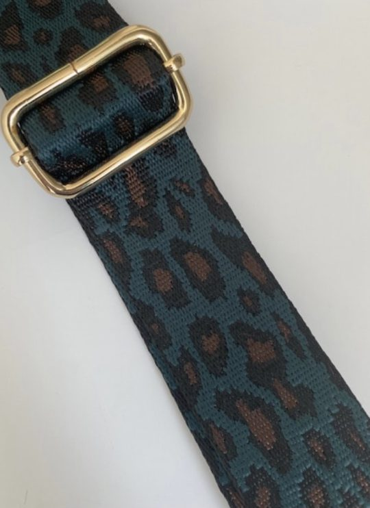 Emerald Green and Leopard Bag Strap (gold fixings)